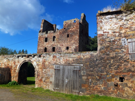 Courtyard wall and gateway of Redhouse Castle, an impressive ruinous tower house and courtyard, held by the Laings and then by the Hamiltons, near Longniddry in East Lothian .