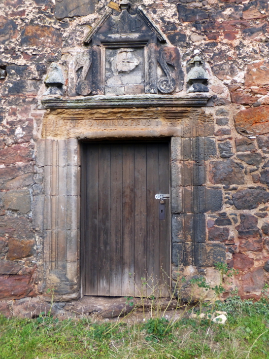 Renaissance doorway of Redhouse Castle, an impressive ruinous tower house and courtyard, held by the Laings and then by the Hamiltons, near Longniddry in East Lothian .