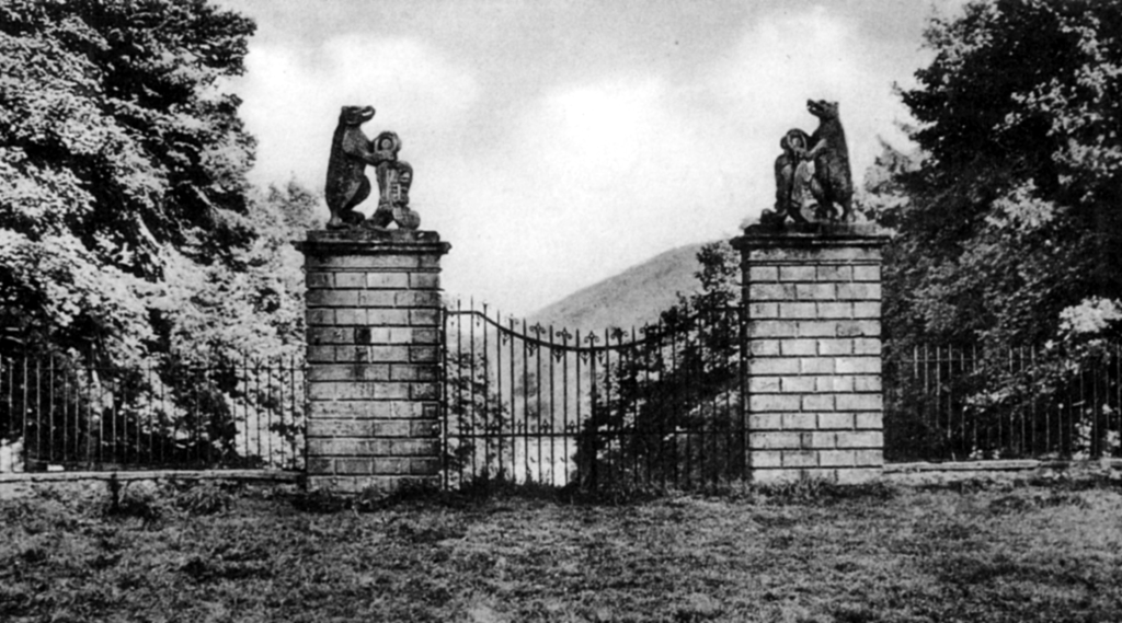 View the Bear Gates of Traquair House, a fabulous homely old castle and house, long a property of the Stewarts and associated with Mary, Queen of Scots, in lovely grounds near Innerleithen in the Borders of Scotland.