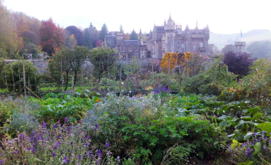 House and gardens of Abbotsford House, the home of Sir Walter Scott, the famous author, and stands in fine wooded grounds and gardens by the River Tweed, near Tweedbank, Melrose and Galashiels in the Borders of Scotland.