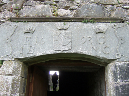 Lintel above entrance of Kilchurn Castle, one of the most photographed and picturesque of Scottish castles, long held by the Campbells later of Breadalbane, and located on a peninsula in Loch Awe near the village of Lochawe in Argyll.