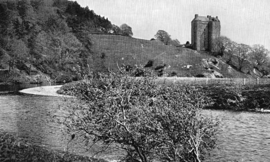 View of Neidpath Castle, a fine old tower and castle above the River Tweed, near Peebles