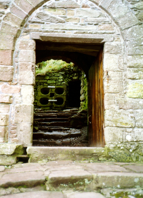 Entrance to Dunnottar Castle, a spectacular cliff top fortress of the Keith Earls Marishcal, near the town of Stonehaven in Aberdeenshire.