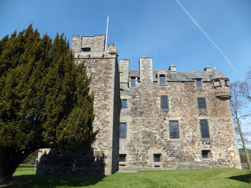 View of Elcho Castle, a well-preserved large castle in a pretty spot, the hall is a particularly fine chamber, long held by the Wemyss family, near Bridge of Earn and Perth.