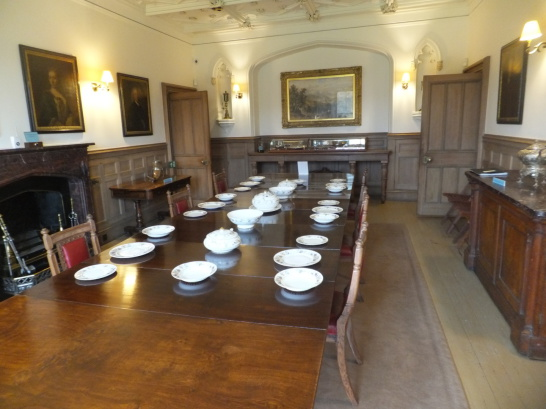 Dining room of Abbotsford House, the home of Sir Walter Scott, the famous author, and stands in fine wooded grounds and gardens by the River Tweed, near Tweedbank, Melrose and Galashiels in the Borders of Scotland.