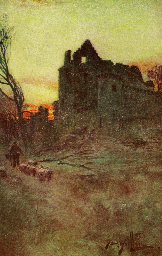 Painting of Craigmillar Castle, a grand but ruinous castle with a large tower and two courtyards, held by the Prestons and the Gilmours, and associated with Mary Queen of Scots, in the Craigmillar area of Edinburgh.