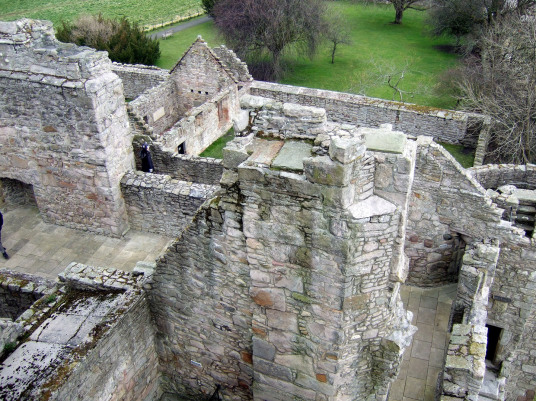 View from battlements of Craigmillar Castle, a grand but ruinous castle with a large tower and two courtyards, held by the Prestons and the Gilmours, and associated with Mary Queen of Scots, in the Craigmillar area of Edinburgh.