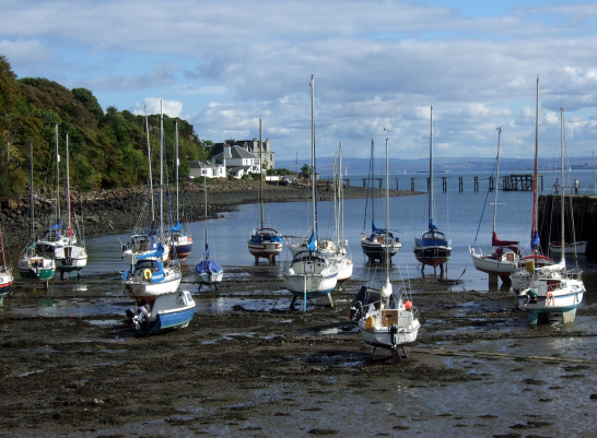 Harbour of Aberdour, near Aberdour Castle, a scenic old stronghold castle with gardens and orchard of the Douglas Earls of Morton, in the pretty village of Aberdour in Fife.