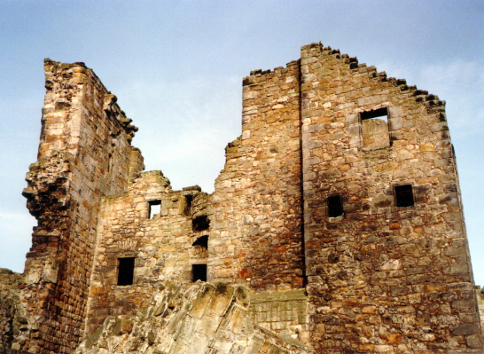 View of Aberdour Castle, a scenic old stronghold castle with gardens and orchard of the Douglas Earls of Morton, in the pretty village of Aberdour in Fife.