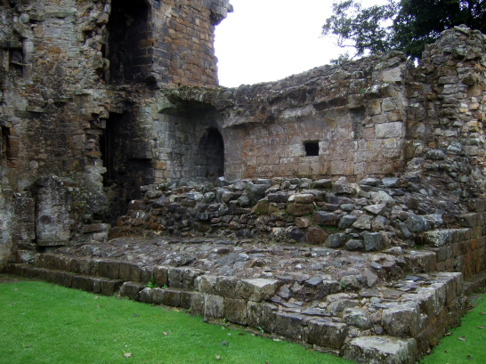 Ruinous basement of the hallhouse/tower of Aberdour Castle, a scenic old stronghold castle with gardens and orchard of the Douglas Earls of Morton, in the pretty village of Aberdour in Fife.