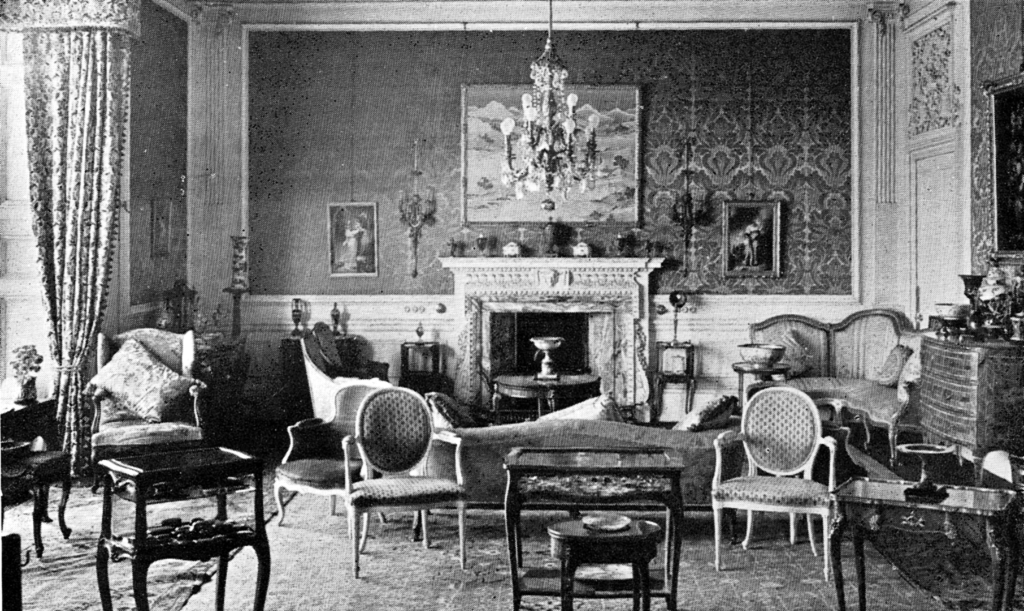 Drawing room, Lauriston Castle, an attractive old castle and mansion, held by several families including the Napiers and Reids, in fine grounds and gardens in the Davidsons Mains area of Edinburgh.