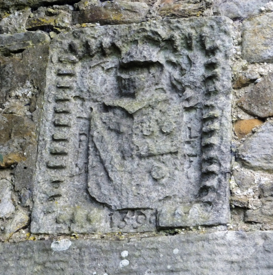 Heraldic panel of Saltcoats Castle, a scenic, ruinous and overgrown old castle of the Livingstone family, near the pretty village of Gullane in East Lothian.