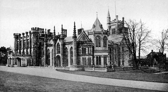 View of Crawford Priory, a large, once sumptuous but now ruinous baronial mansion in landscaped grounds of the Crawfords, near Cupar in Fife.