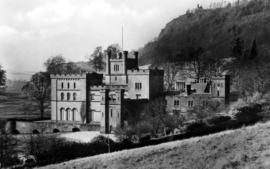 View of Kinfauns Castle, a large Gothic mansion in landscaped policies, by the River Tay near Perth.