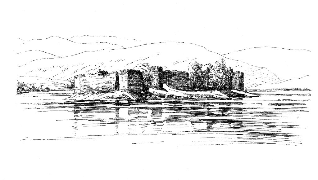Lochindorb Castle, a scenic old ruinous castle on an island in the loch, associated with the Wolf of Badenoch, near Grantown on Spey in the Highlands of Scotland.