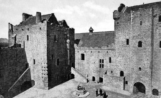 View of the courtyard of Doune Castle, a magnificent medieval castle in a pretty spot by the River Teith, built by Robert Stewart, Duke of Albany, near Doune in Stirlingshire.