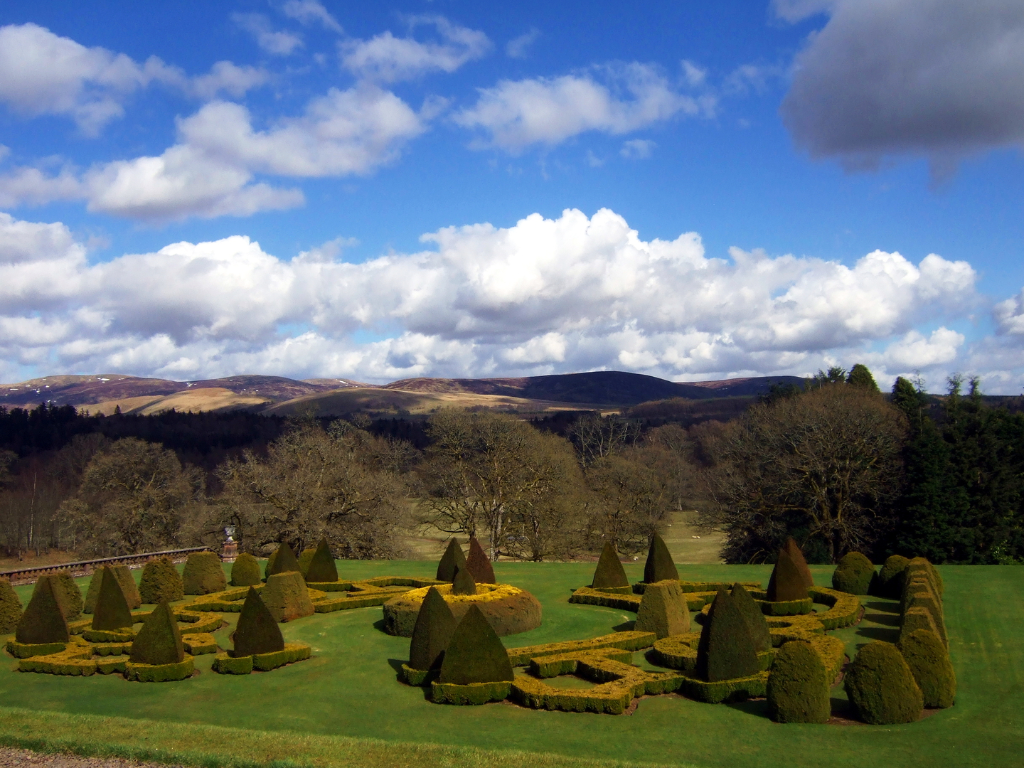 Formal gardens, Drumlanrig Castle, a magnificent old baronial mansion in expansive lovely parkland and gardens, held by the Douglases then by the Scott Dukes of Buccleuch, near Thornhill in Dumfries and Galloway.