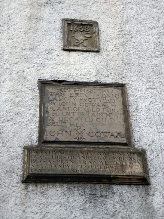 Panel on Cowane's Hospital and Guildhall, an atmospheric old building, endowed by John Cowane, a wealthy merchant to care for guild members who had fallen on hard times, in the historic burgh of Stirling.