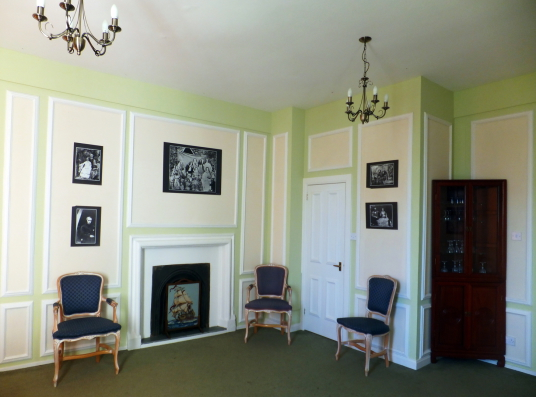 Green Room, Cockenzie House, a long plain mansion with some old interiors, dating from the 17th century, in beautiful gardens in the pleasant town of Cockenzie and Port Seton on the banks of the Firth of Forth, near Prestonpans in East Lothian.