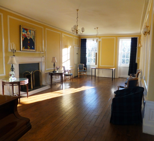William Cadell or Piano room, Cockenzie House, a long plain mansion with some old interiors, dating from the 17th century, in beautiful gardens in the pleasant town of Cockenzie and Port Seton on the banks of the Firth of Forth, near Prestonpans in East L