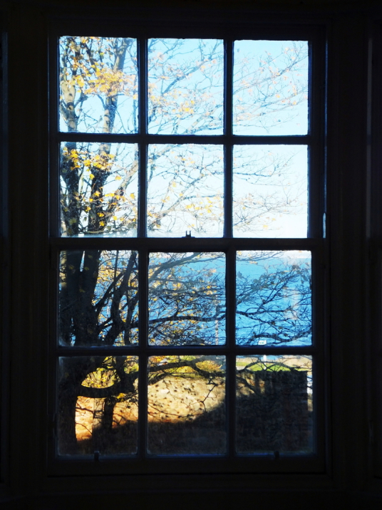 Window of William Cadell or piano room overlooking the Firth of Forth, Cockenzie House, a long plain mansion with some old interiors, dating from the 17th century, in beautiful gardens in the pleasant town of Cockenzie and Port Seton on the banks of the F