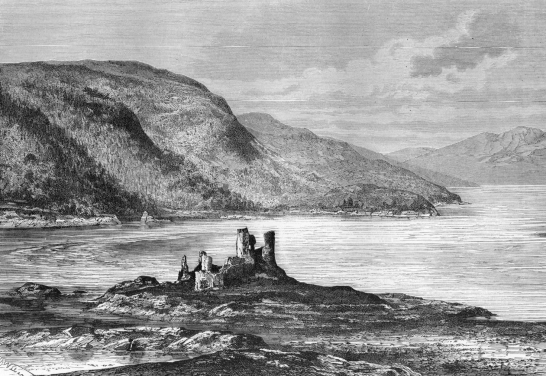 Eilean Donan Castle before restoration, a romantic castle in a beautiful spot, much photographed and long a property of the Mackenzies, near Dornie on the road to Skye in the Highlands of Scotland.