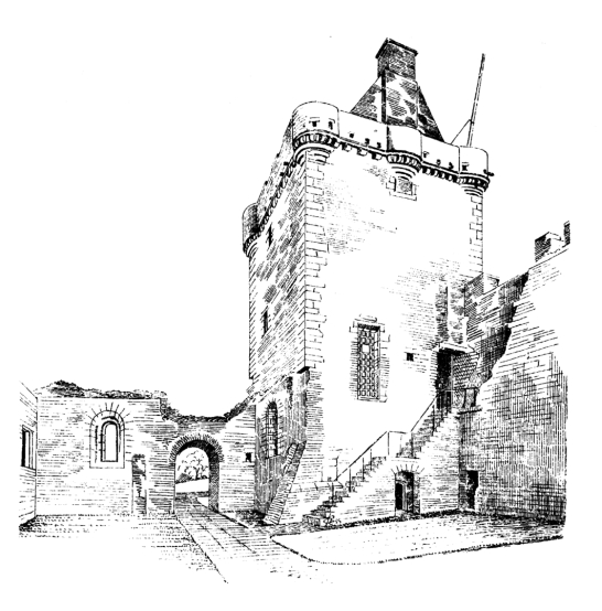 Tower, Skipness Castle, a large and scenic tower and courtyard overlooking Kilbrandon Sound and Arran, long held by the Campbells and near Tarbert in Kintyre on the west coast of Scotland.
