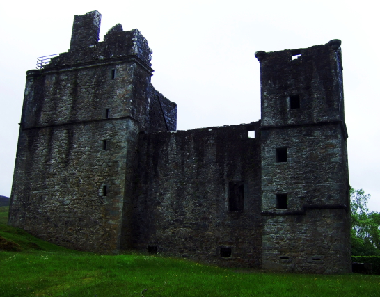 Carnasserie Castle, an imposing and atmospheric old ruinous castle and hall house above the road, built by John Carswell, Bishop of the Isles, and later held by the Campbells, near Kilmartin in Argyll on the west coast of Scotland.