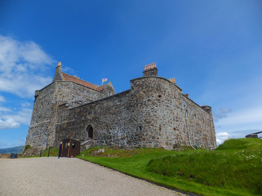 Duart Castle, an impressive and picturesque old stronghold perched on a rock by the sea, long home to the Macleans and near Craignure on the island of Mull in western Scotland.
