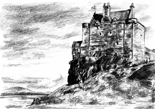 Drawing by Laura Ferguson of Duart Castle, an impressive and picturesque old stronghold perched on a rock by the sea, long home to the Macleans and near Craignure on the island of Mull in western Scotland.