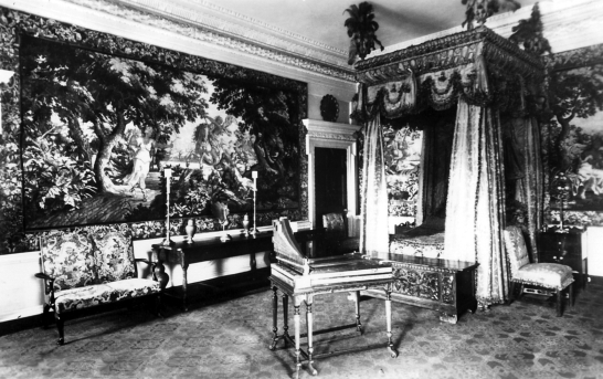 Tapestry Room, Blair Castle, the magnificent castle with a sumptuous interior of the Murray Dukes of Atholl, set in lovely gardens and grounds in a mountainous location, at Blair Atholl near Pitlochry in Perthshire.