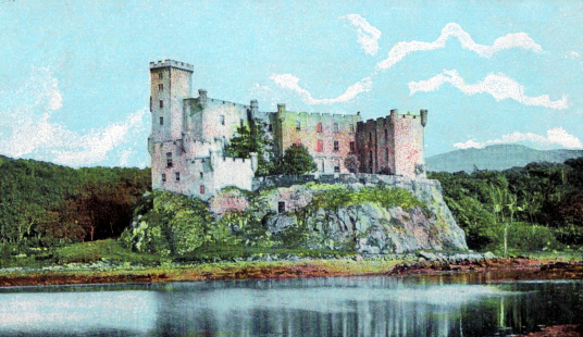 Dunvegan Castle, a large castle and mansion, stands on a pretty spot to the north of the island of Skye in the Hebrides of Scotland and has long been the seat of the MacLeods of Dunvegan.
