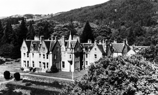 Glengarry Castle Hotel, near Invergarry Castle, an impressive and picturesque ruinous old tower of the MacDonnells (MacDonalds) of Clan Ranald in a pretty spot on Loch Oich and in the grounds of the Glengarry Castle Hotel, near Fort Augustus in the Highla