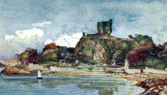 Painting of Dunollie Castle, an impressive ruinous tower on a prominent wooded spot above the later Dunollie House, long held by the MacDougalls, now with a museum, and near the seaside town of Oban in Argyll on the west coast of Scotland.