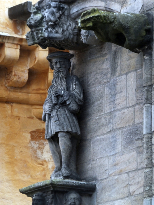 Statue of James V adorning the palace of Stirling Castle, a magnificent royal stronghold and palace of the monarchs of Scotland, with the sumptuous palace of James V, great hall, chapel royal, king's old buildings, old kitchens and much else, above the hi