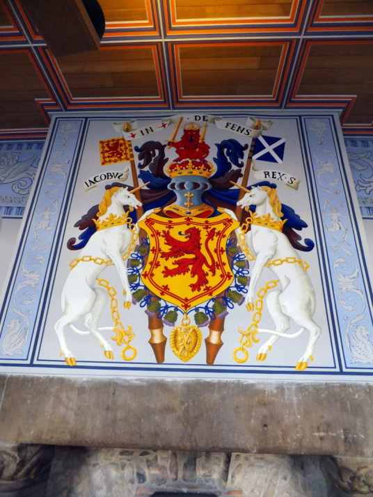 Royal arms of Scotland, royal palace of Stirling Castle, a magnificent royal stronghold and palace of the monarchs of Scotland, with the sumptuous palace of James V, great hall, chapel royal, king's old buildings, old kitchens and much else, above the his