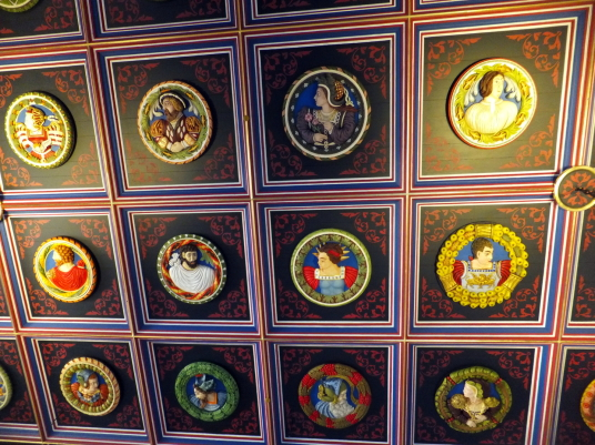 Ceiling. king's presence chamber, palace, Stirling Castle, a magnificent royal stronghold and palace of the monarchs of Scotland, with the sumptuous palace of James V, great hall, chapel royal, king's old buildings, old kitchens and much else, above the h