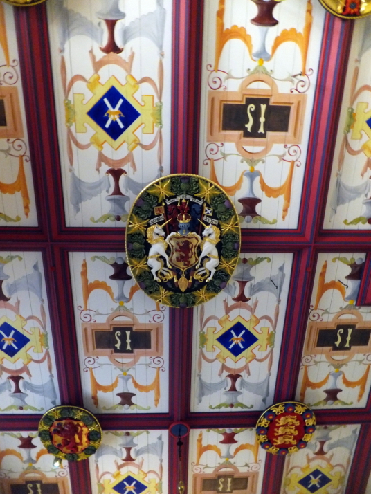 Ceiling of Ling's Bedchamber, palace of Stirling Castle, a magnificent royal stronghold and palace of the monarchs of Scotland, with the sumptuous palace of James V, great hall, chapel royal, king's old buildings, old kitchens and much else, above the his