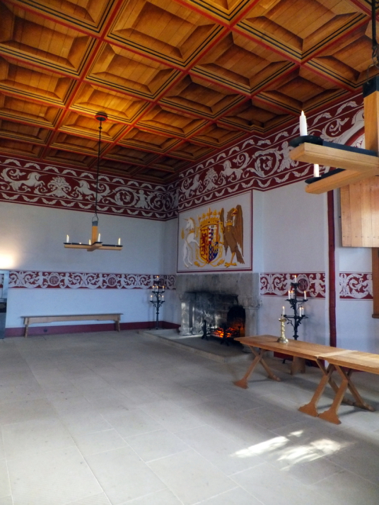 Queen's Inner Hall, palace of Stirling Castle, a magnificent royal stronghold and palace of the monarchs of Scotland, with the sumptuous palace of James V, great hall, chapel royal, king's old buildings, old kitchens and much else, above the historic burg
