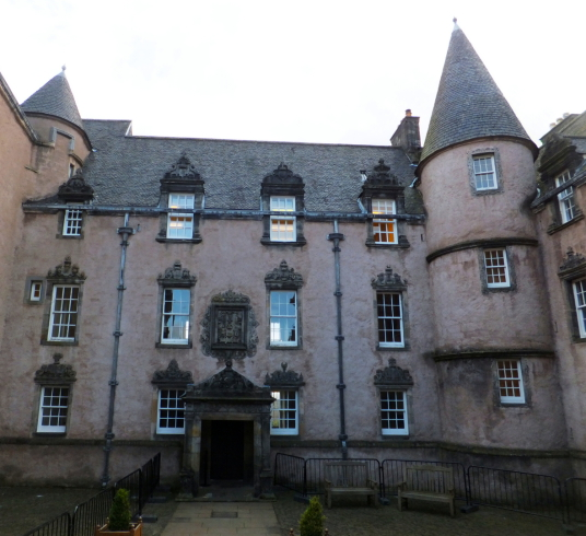 Courtyard of Argyll's Lodging, an impressive and atmospheric old town house, decorated and furnished as it would have been in the 17th century and owned at one time by the Campbells of Argyll, on Castle Wynd on the road up to Stirling Castle in the histor
