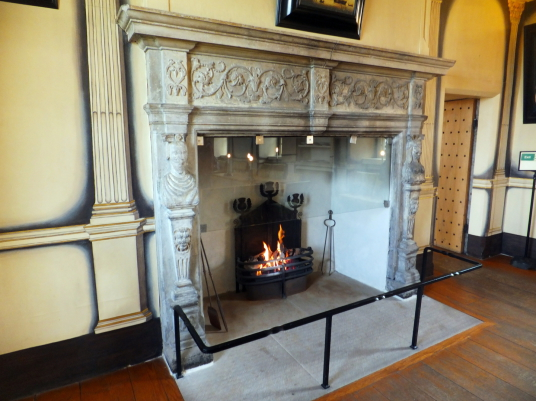 Carved fireplace, High Dining Room, Argyll's Lodging, an impressive and atmospheric old town house, decorated and furnished as it would have been in the 17th century and owned at one time by the Campbells of Argyll, on Castle Wynd on the road up to Stirli