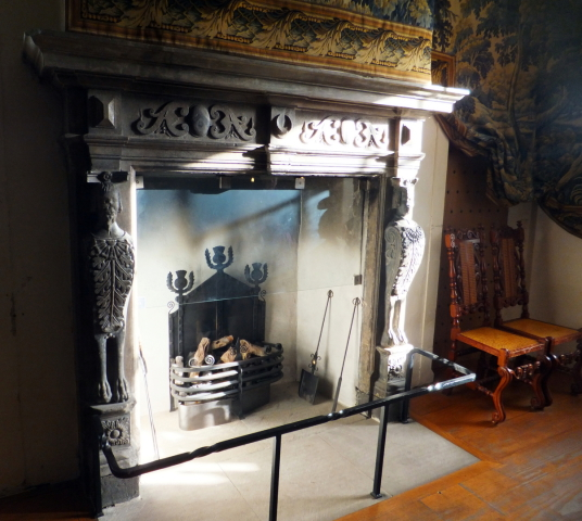 Fireplace, drawing Room, Argyll's Lodging, an impressive and atmospheric old town house, decorated and furnished as it would have been in the 17th century and owned at one time by the Campbells of Argyll, on Castle Wynd on the road up to Stirling Castle i