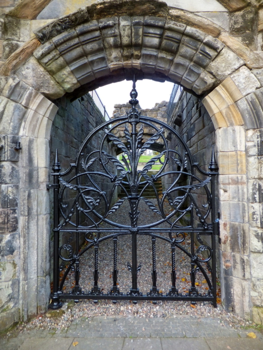 Gateway, Mar's Wark, ruinous but decorated with much carved stonework, is the town house of the Erskine Earls of Mar, on Castle Wynd on the way up to Stirling Castle in the historic burgh.