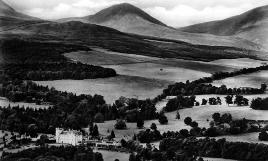 Blair Castle, the magnificent castle with a sumptuous interior of the Murray Dukes of Atholl, set in lovely gardens and grounds in a mountainous location, at Blair Atholl near Pitlochry in Perthshire.