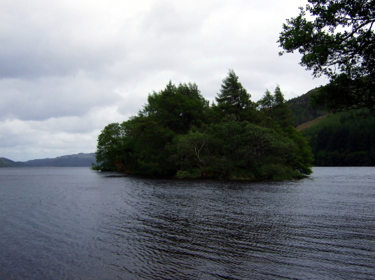 Caisteal na Nighinn Ruaidhe, a ruinous old stronghold of the Campbells on a heavily wooded island in the beautiful and peaceful Loch Avich, near Kilmelford in Argyll.