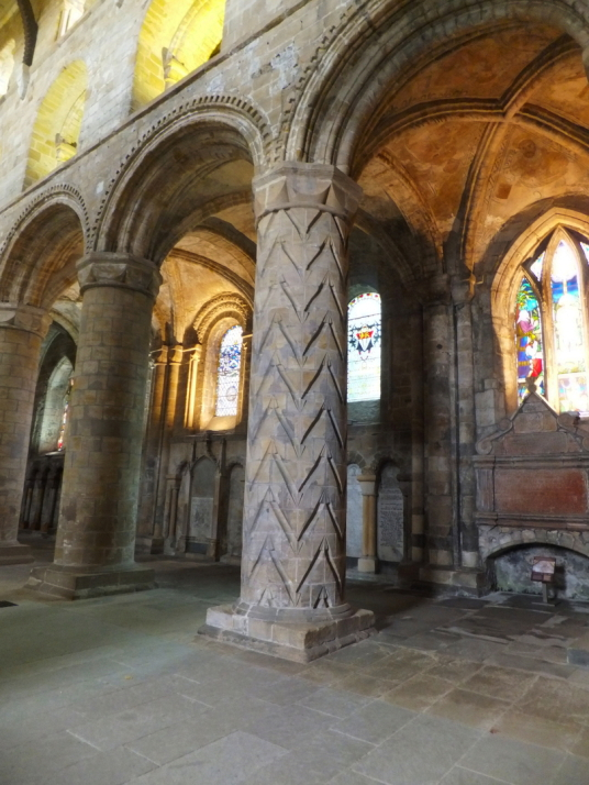 Dunfermline Palace and Abbey (pillars in the nave of abbey church) consists of the now ruinous royal palace and domestic buildings of the adjacent abbey, as well as the impressive church nave, in the heritage quarter of the burgh of Dunfermline in Fife.
