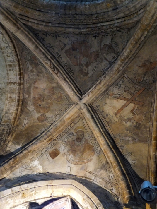 Dunfermline Palace and Abbey (painting on the ceiling in the nave of abbey church) consists of the now ruinous royal palace and domestic buildings of the adjacent abbey, as well as the impressive church nave, in the heritage quarter of the burgh of Dunfer