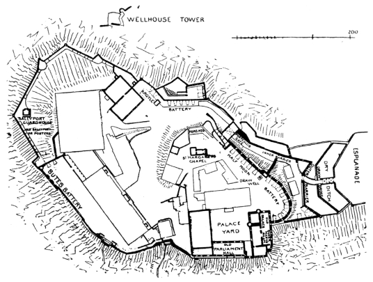 Plan of Edinburgh Castle, standing on a rock in the middle of Scotland's capital city, a magnificent fortress and palace, used by the monarchs of Scotland (such as St Margaret and Mary Queen of Scots) as one of the principal strongholds of the kingdom of