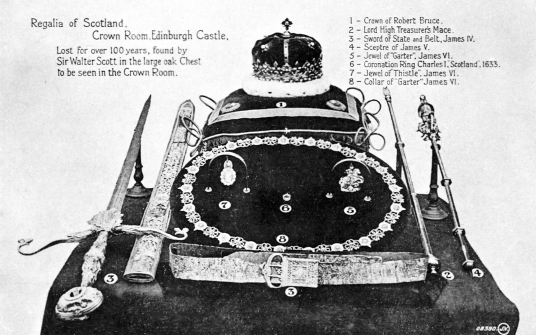 Crown Jewels of Scotland (Scottish Regalia), Edinburgh Castle, standing on a rock in the middle of Scotland's capital city, a magnificent fortress and palace, used by the monarchs of Scotland (such as St Margaret and Mary Queen of Scots) as one of the pri