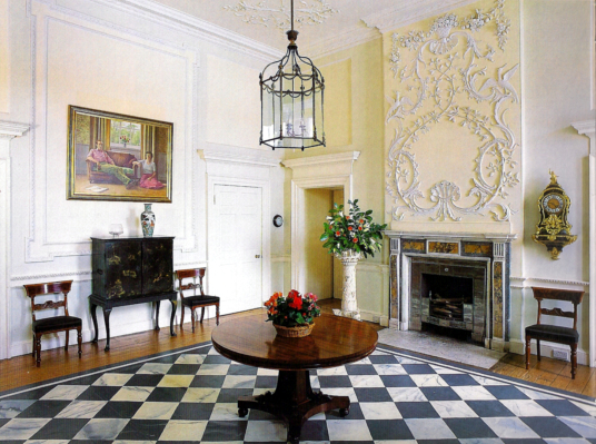 Entrance hall, Paxton House, a fine Adam mansion, built for the Home family, with a beautiful period interior and an extensive collection of Chippendale furniture, in lovely gardens and grounds, near Berwick upon Tweed on the Scottish side of the border w